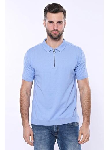 Wessi Erkek Slim Fit Polo Yaka Örme Düz Pamuk Tişört Mavi